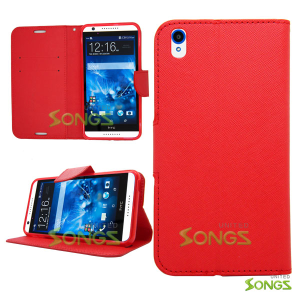 HTC Desire 816 710c Wallet Case Red
