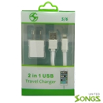 iPhone Lightning 2 in 1 Home Charger White