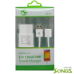 Samsung Galaxy S5/Note 3 2 in 1 Travel Home Charger White