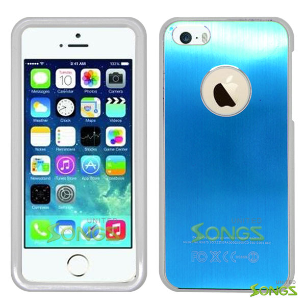 iPhone 5 5S Metal Back Case Blue/White