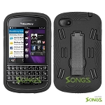 BlackBerry Q10 Heavy Duty Case with Kickstand Black/Black