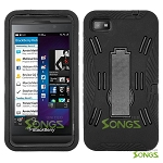 BlackBerry Z10 (AT&T, T-Mobile, Verizon, Sprint) Heavy Duty Case with Kickstand Black/Black