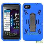 BlackBerry Z10 (AT&T, T-Mobile, Verizon, Sprint) Heavy Duty Case with Kickstand Blue/Black