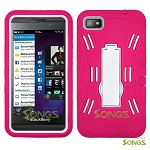 BlackBerry Z10 (AT&T, T-Mobile, Verizon, Sprint) Heavy Duty Case with Kickstand Pink/White