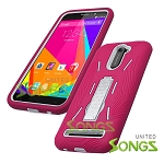 BLU Studio 6.0 LTE Heavy Duty Case with Kickstand Pink/White