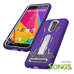 BLU Studio 6.0 LTE Heavy Duty Case with Kickstand Purple/White