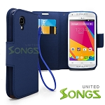 BLU  Dash C Music D380L / Dash Music JR D390 Wallet Case Blue