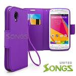 BLU Dash C Music D380L / Dash Music JR D390 Wallet Case Purple