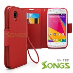 BLU Dash C Music D380L / Dash Music JR D390 Wallet Case Red