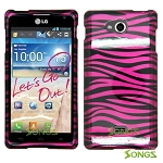 LG Spirit MS870 Hard Design#8 Pink Black Stripes