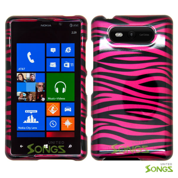 Nokia Lumia 820 Hard Design#8 Pink Black Stripes