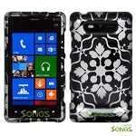 Nokia Lumia 820 Hard Design#13 Black White Flower