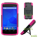 LG Nexus 5 Hybrid Case with Kickstand Black/Pink