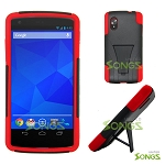 LG Nexus 5 Hybrid Case with Kickstand Black/Red