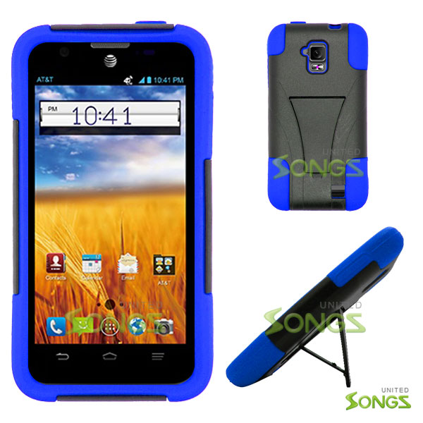 new products 38aea bfe82 ZTE Z998 4G (AT&T) Hybrid Kickstand Case Black/Blue
