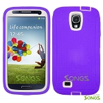 Samsung Galaxy S4 Heavy Duty Case With Screen Protector Purple/White