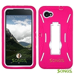 HTC First (AT&T) Heavy Duty Case with Kickstand Pink/White