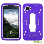 HTC First (AT&T) Heavy Duty Case with Kickstand Purple/White