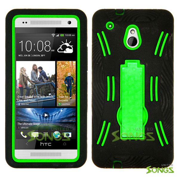 HTC One mini M4 Heavy Duty Case with Kickstand Black/Green