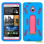 HTC One mini M4 Heavy Duty Case with Kickstand Ocean Blue/High Pink