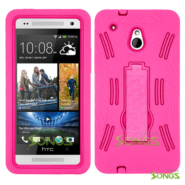 HTC One mini M4 Heavy Duty Case with Kickstand High Pink/High Pink