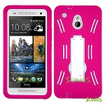 HTC One mini M4 Heavy Duty Case with Kickstand High Pink/White