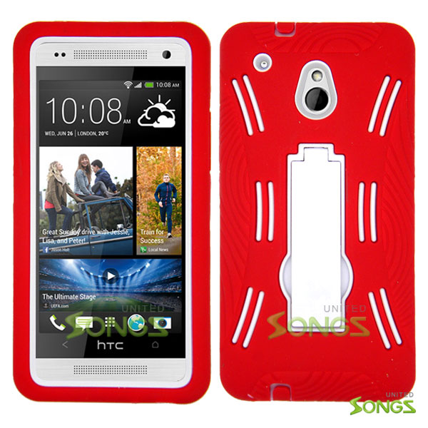 HTC One mini M4 Heavy Duty Case with Kickstand Red/White