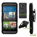 HTC One M9 Hybrid Kickstand Case with Hostel Belt Clip(Super Combo) Black/Black