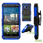 HTC One M9 Hybrid Kickstand Case with Hostel Belt Clip(Super Combo) Black/Blue