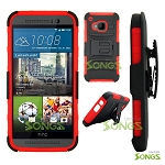 HTC One M9 Hybrid Kickstand Case with Hostel Belt Clip(Super Combo) Black/Red