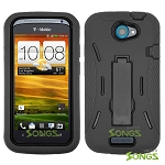HTC One S (T-Mobile) Heavy Duty Case with Kickstand Black/Black