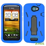 HTC One S (T-Mobile) Heavy Duty Case with Kickstand Blue/Black