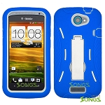 HTC One S (T-Mobile) Heavy Duty Case with Kickstand Blue/White