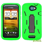 HTC One S (T-Mobile) Heavy Duty Case with Kickstand Green/Black