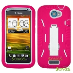 HTC One S (T-Mobile) Heavy Duty Case with Kickstand Pink/White