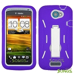 HTC One S (T-Mobile) Heavy Duty Case with Kickstand Purple/White