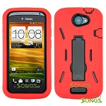 HTC One S (T-Mobile) Heavy Duty Case with Kickstand Red/Black
