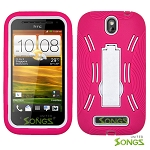 HTC One SV (Boost Mobile) Heavy Duty Case with Kickstand Pink/White