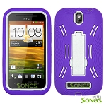 HTC One SV (Boost Mobile) Heavy Duty Case with Kickstand Purple/White