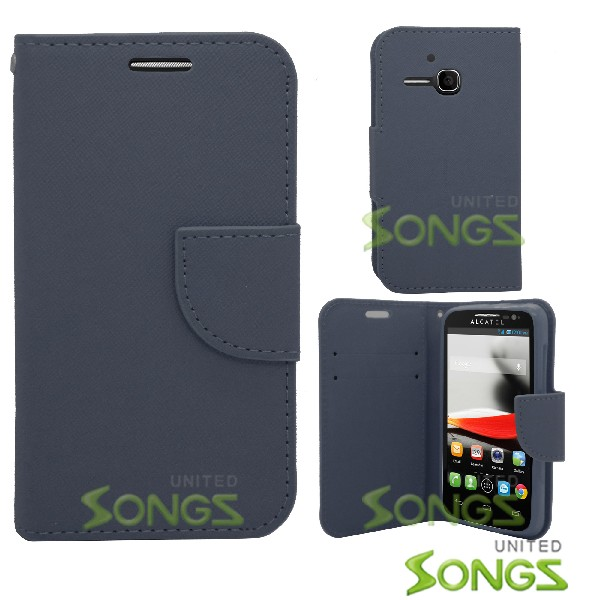 Alcatel One Touch Evolve/5020T Wallet Case Blue