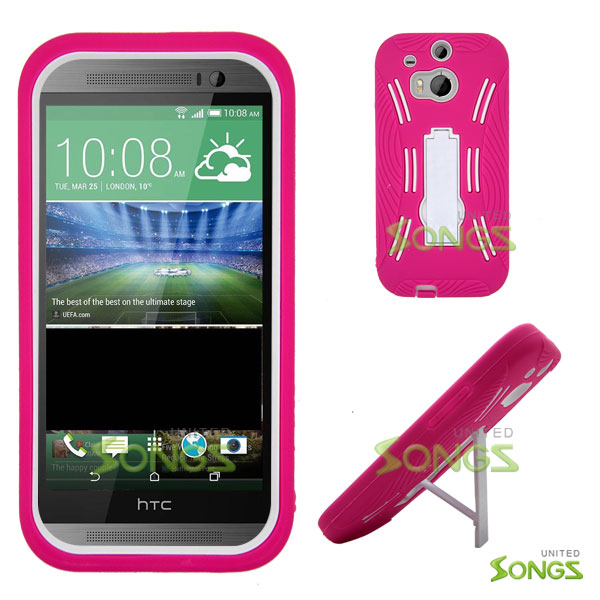 HTC ONE M8 Heavy Duty Case with Kickstand Pink/White