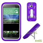 HTC ONE M8 Heavy Duty Case with Kickstand Purple/White