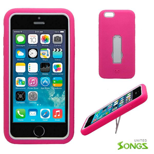 iPhone 6 Plus Heavy Duty Case with Kickstand Pink/White