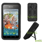 Kyocera Hydro VIBE C6725 (Sprint, Virgin Mobile) Heavy Duty Case with Kickstand Black/Black