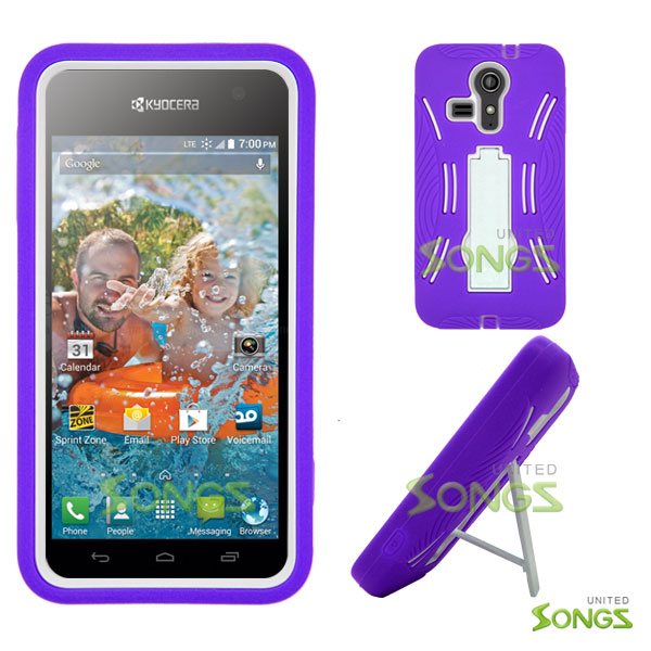 Kyocera Hydro VIBE C6725 (Sprint, Virgin Mobile) Heavy Duty Case with Kickstand Purple/White