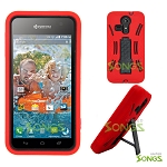Kyocera Hydro VIBE C6725 (Sprint, Virgin Mobile) Heavy Duty Case with Kickstand Red/Black