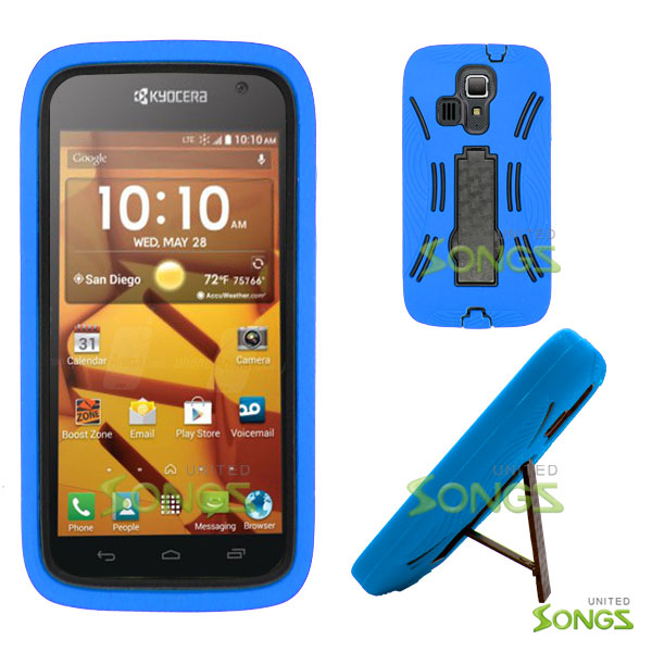 Kyocera Hydro ICON C6730(Boost Mobile) Hydro LIFE C6530(T-Mobile) Heavy Duty Case with Kickstand Blue/Black