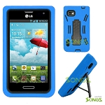 LG Optimus F3 LS720 (MetroPCS, T-Mobile, Boost Mobile) Heavy Duty Case with Kickstand Blue/Black