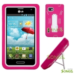 LG Optimus F3 LS720 (MetroPCS, T-Mobile, Boost Mobile) Heavy Duty Case with Kickstand Pink/White