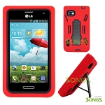 LG Optimus F3 LS720 Heavy Duty Case with Kickstand Red/Black